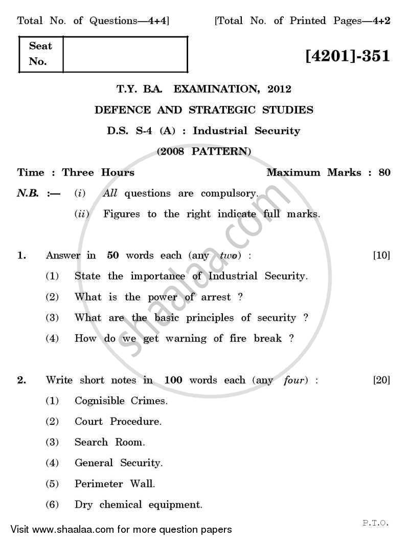 Question Paper - Defence and Strategic Studies Special Paper 4A- Industrial Security 2012-2013 - B.A. - 3rd Year (TYBA) - University of Pune with PDF download
