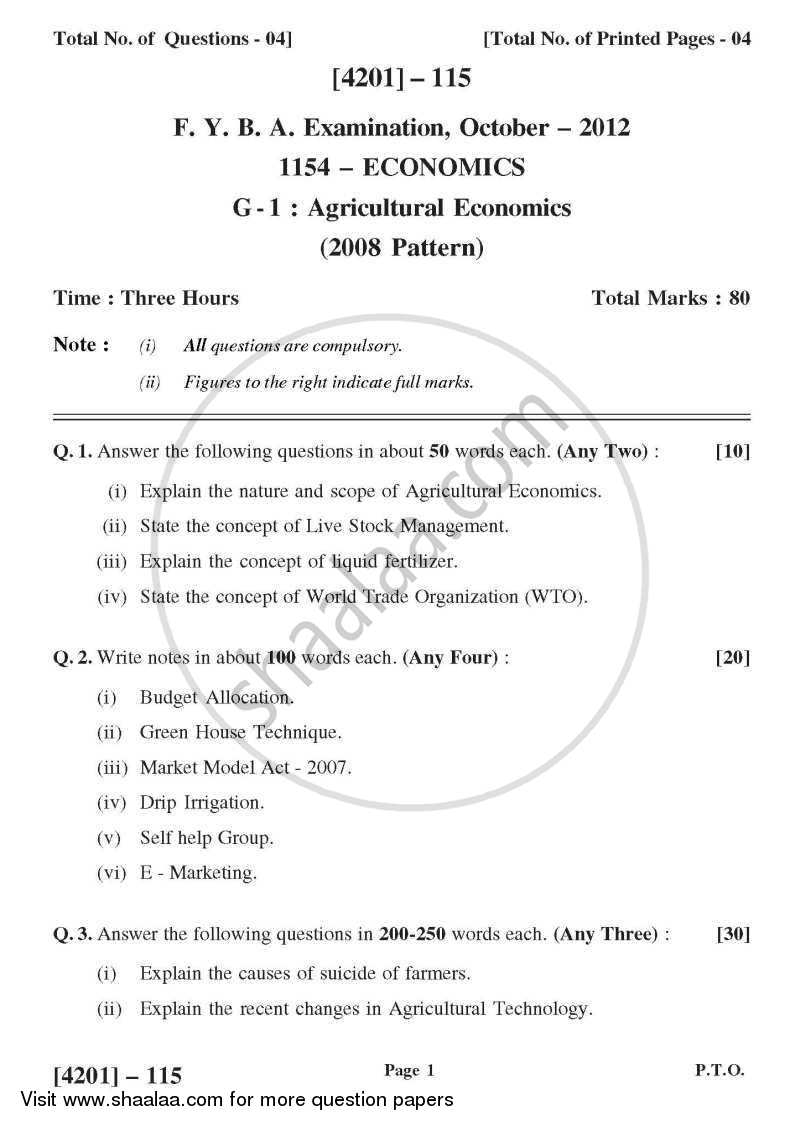 Question Paper - Economics General Paper 1- Agricultural Economics 2012 - 2013 - B.A. - 1st Year (FYBA) - University of Pune