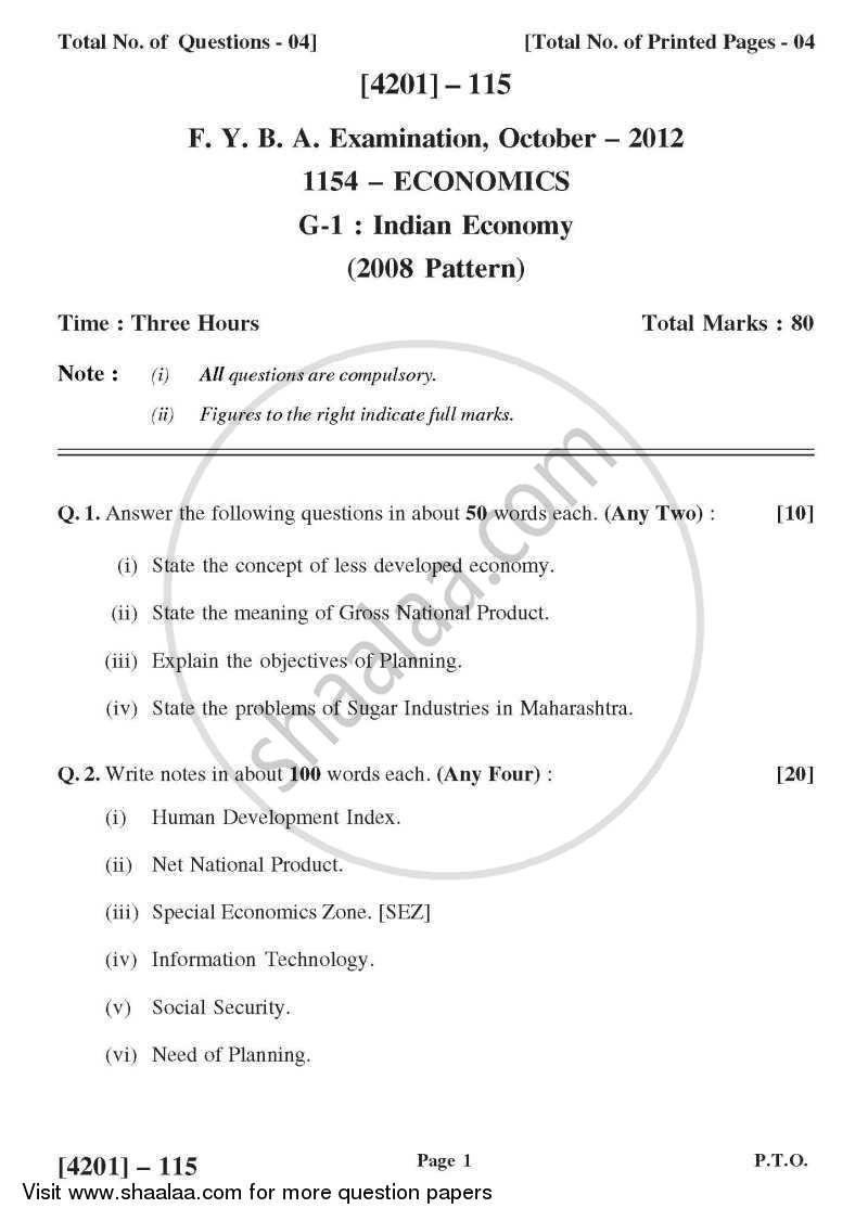 Economics General Paper 1- Indian Economy 2012-2013 - B.A. - 1st Year (FYBA) - University of Pune question paper with PDF download