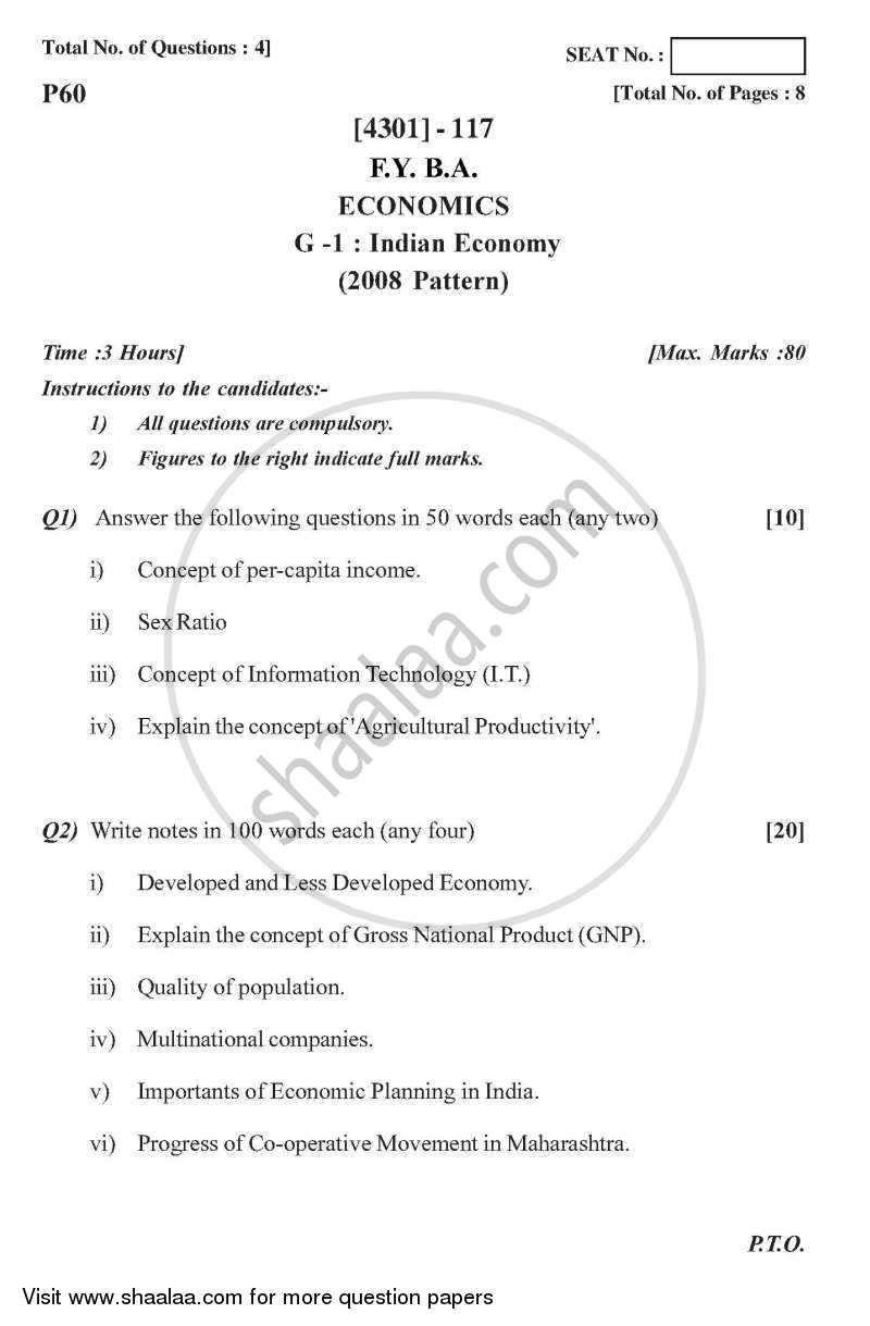 Question Paper - Economics General Paper 1- Indian Economy 2012 - 2013-B.A.-1st Year (FYBA) University of Pune