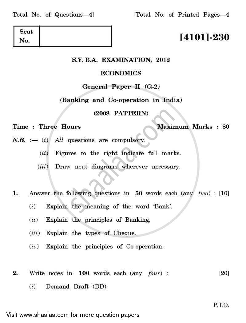 Question Paper - Economics General Paper 2- Banking and Co-operation in India 2011 - 2012 - B.A. - 2nd Year (SYBA) - University of Pune