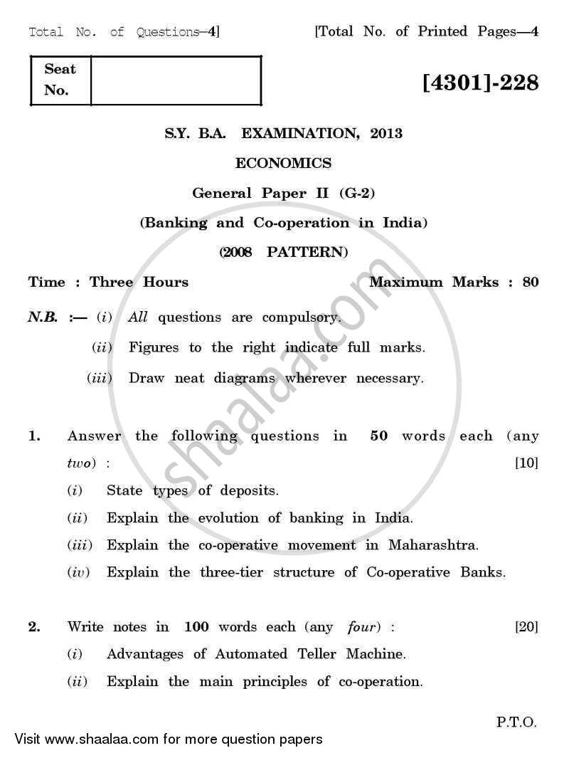 Question Paper - Economics General Paper 2- Banking and Co-operation in India 2012 - 2013 - B.A. - 2nd Year (SYBA) - University of Pune