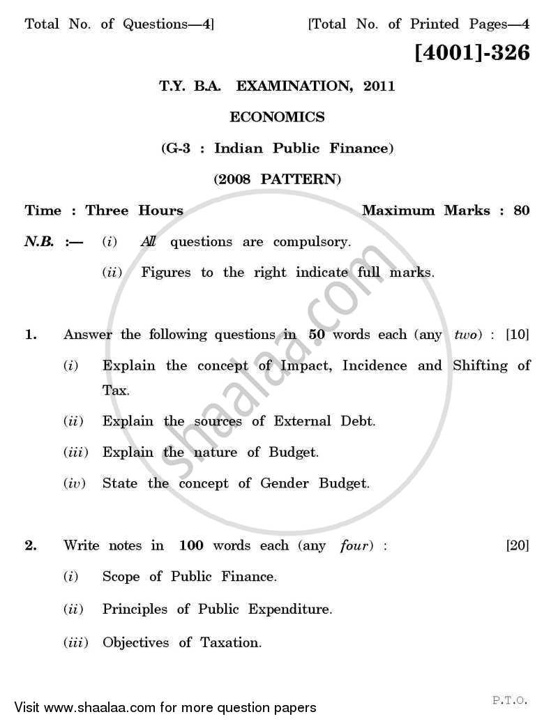 Question Paper - Economics General Paper 3- Indian Public Finance 2011 - 2012 - B.A. - 3rd Year (TYBA) - University of Pune
