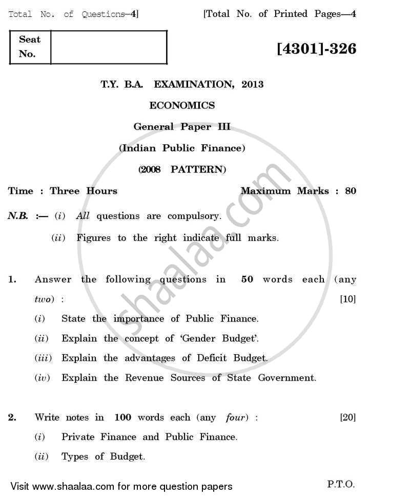Question Paper - Economics General Paper 3- Indian Public Finance 2012 - 2013 - B.A. - 3rd Year (TYBA) - University of Pune