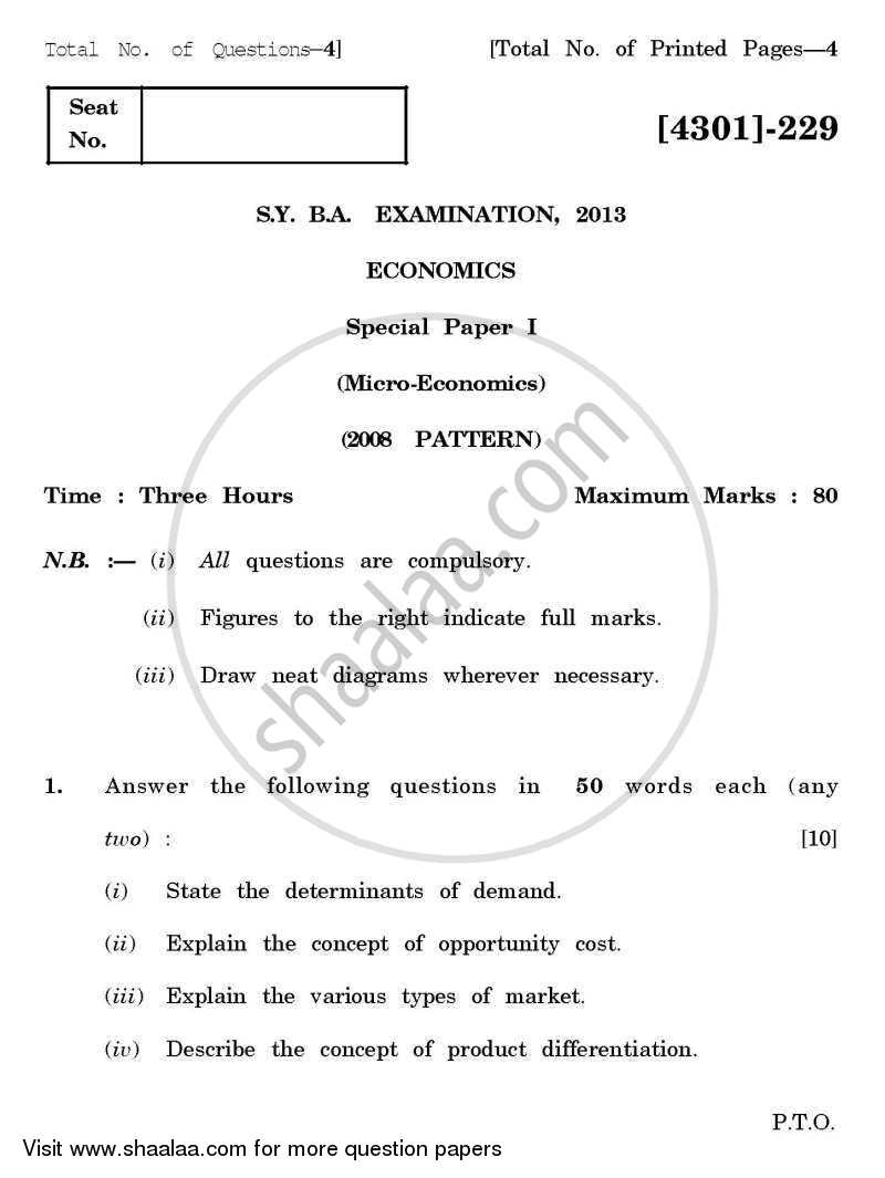 Economics Special Paper 1- Micro Economics 2012-2013 - B.A. - 2nd Year (SYBA) - University of Pune question paper with PDF download