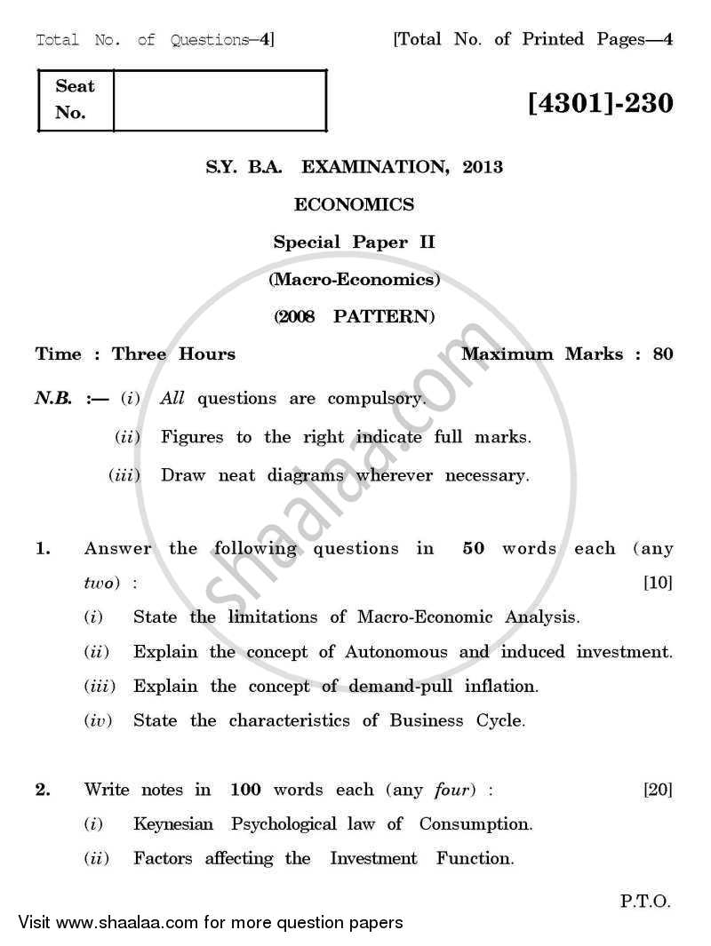 Question Paper - Economics Special Paper 1- Micro Economics 2012 - 2013 - B.A. - 2nd Year (SYBA) - University of Pune