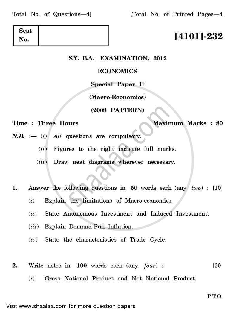 Economics Special Paper 2- Macro Economics 2011-2012 - B.A. - 2nd Year (SYBA) - University of Pune question paper with PDF download
