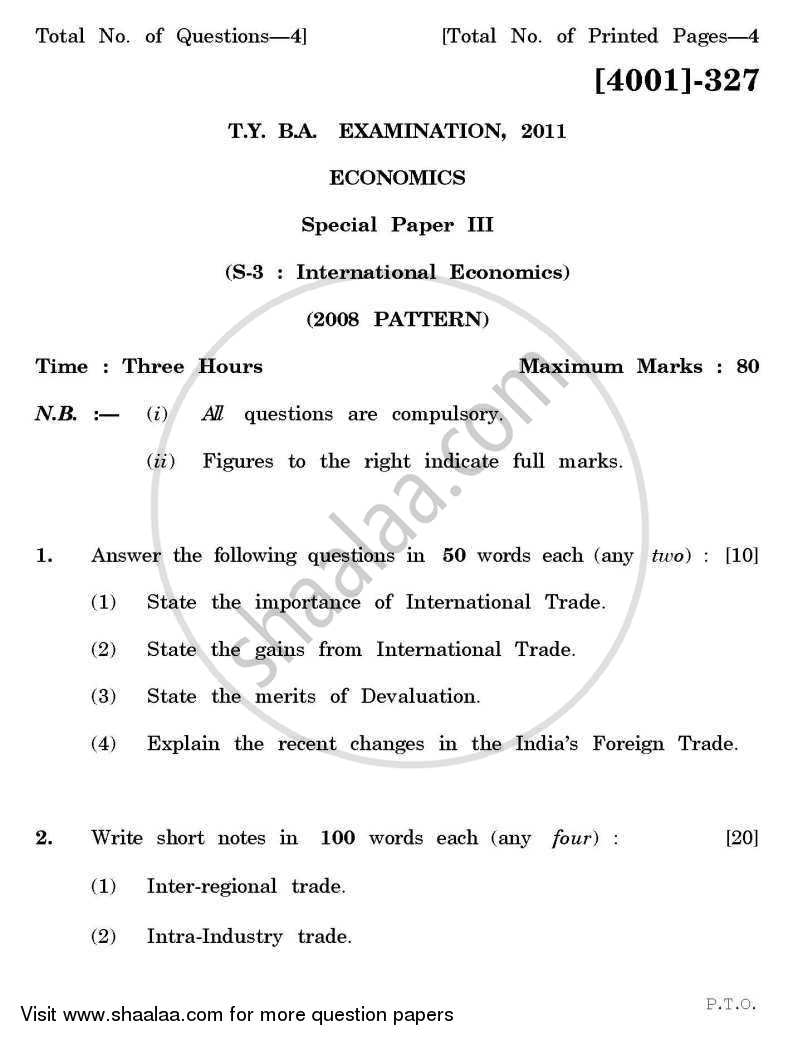 Question Paper - Economics Special Paper 3- International Economics 2011 - 2012 - B.A. - 3rd Year (TYBA) - University of Pune