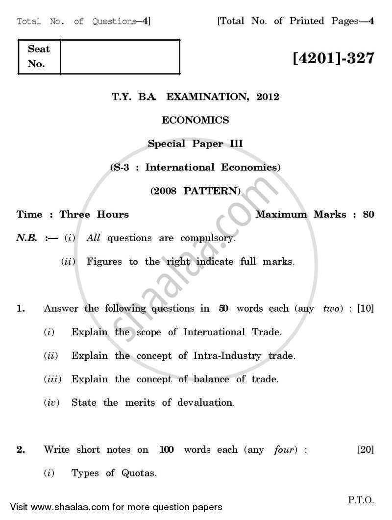 Economics Special Paper 3- International Economics 2012-2013 - B.A. - 3rd Year (TYBA) - University of Pune question paper with PDF download