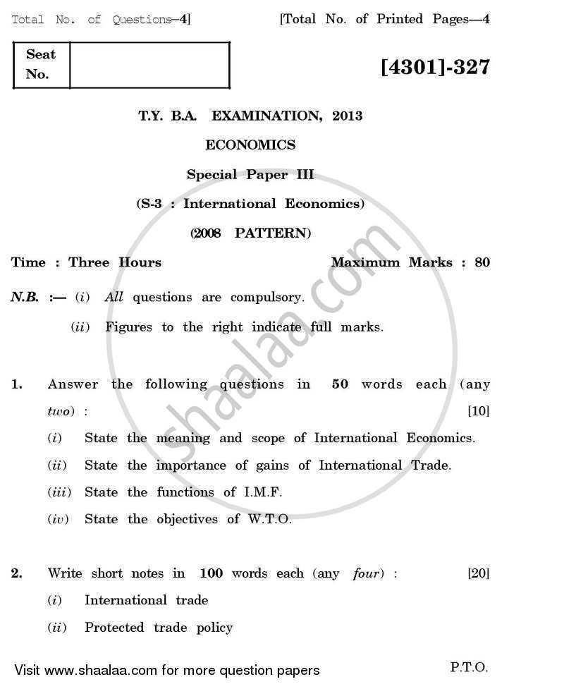 Question Paper - Economics Special Paper 3- International Economics 2012 - 2013 - B.A. - 3rd Year (TYBA) - University of Pune