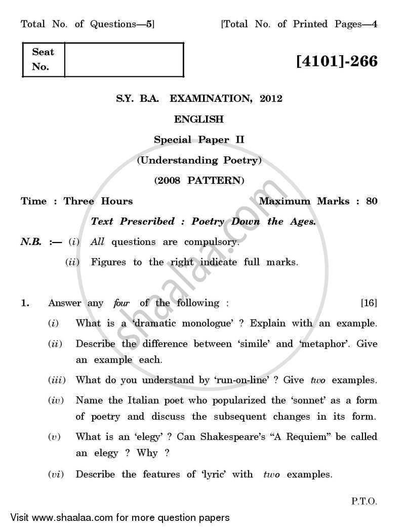 Question Paper - English Special Paper 2- Understanding Poetry 2011 - 2012 - B.A. - 2nd Year (SYBA) - University of Pune