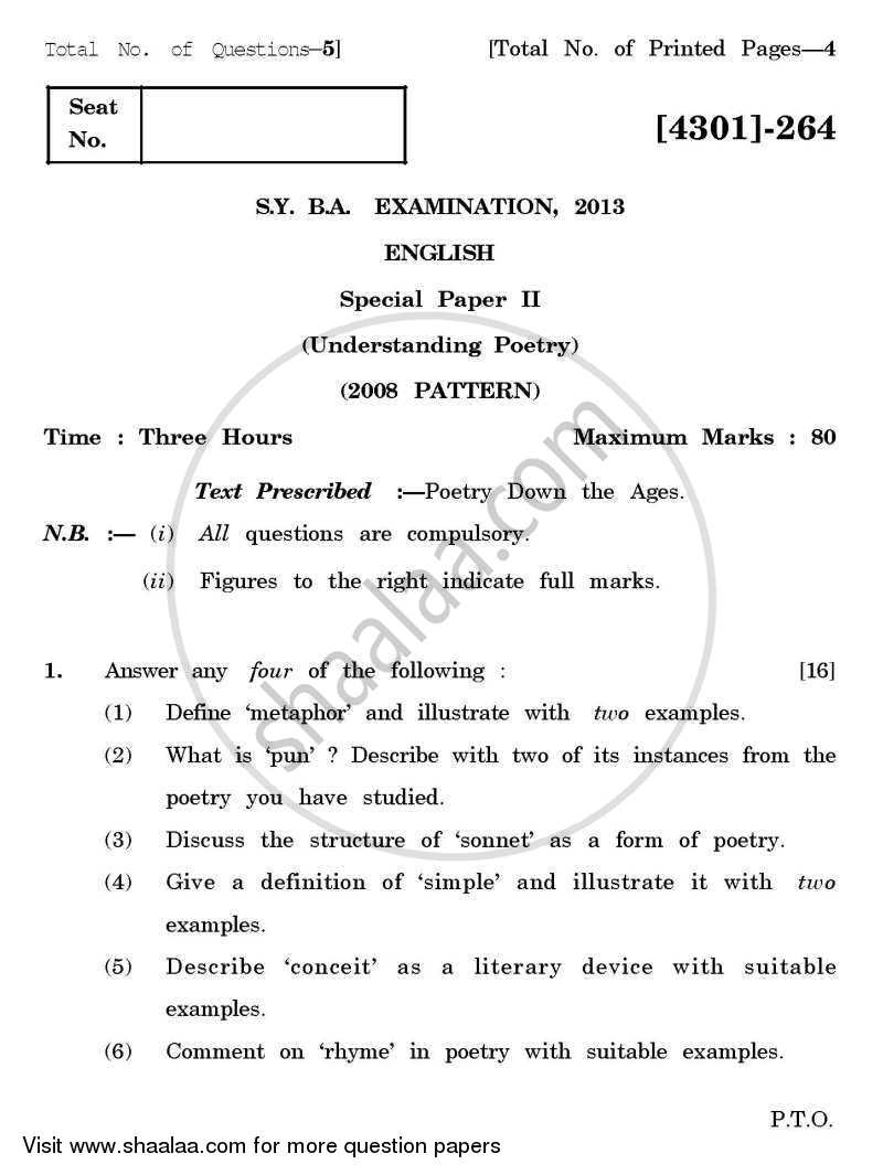 English Special Paper 2- Understanding Poetry 2012-2013 - B.A. - 2nd Year (SYBA) - University of Pune question paper with PDF download