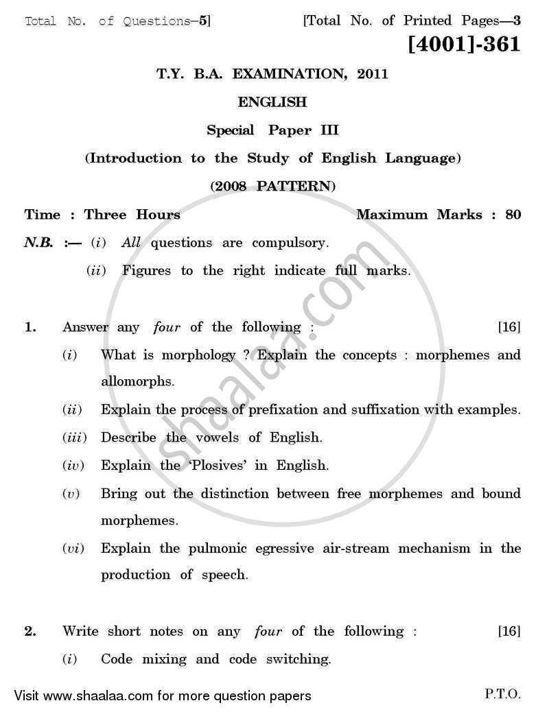 English Special Paper 3- Introduction to the Study of English Language 2011-2012 - B.A. - 3rd Year (TYBA) - University of Pune question paper with PDF download