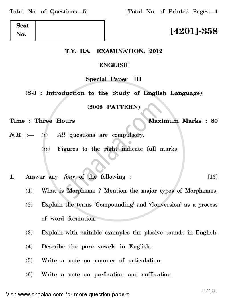 Question Paper - English Special Paper 3- Introduction to the Study of English Language 2012 - 2013 - B.A. - 3rd Year (TYBA) - University of Pune