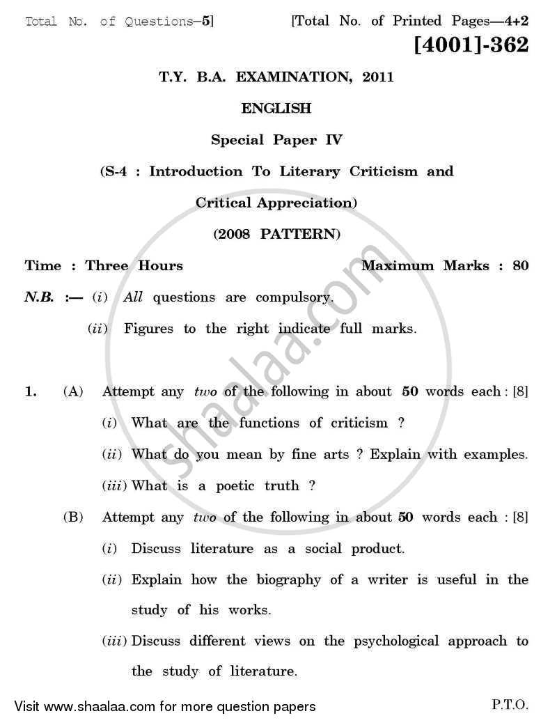question paper english special paper introduction to literary question paper english special paper 4 introduction to literary criticism and critical appreciation 2011