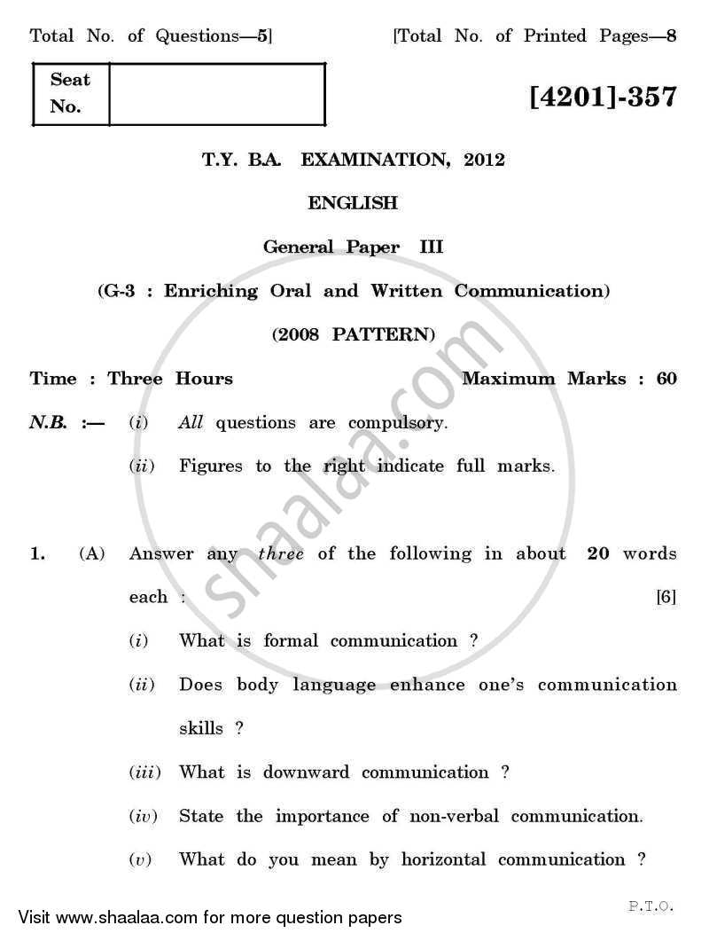 Question Paper - Enriching Oral and Written Communication 2012 - 2013-B.A.-3rd Year (TYBA) University of Pune