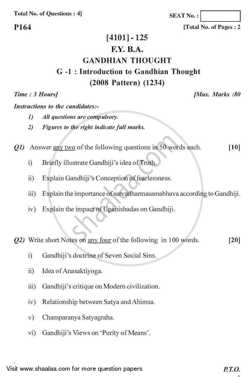 Gandhian Thought General Paper 1- Introduction to Gandhian Thought 2011-2012 - B.A. - 1st Year (FYBA) - University of Pune question paper with PDF download