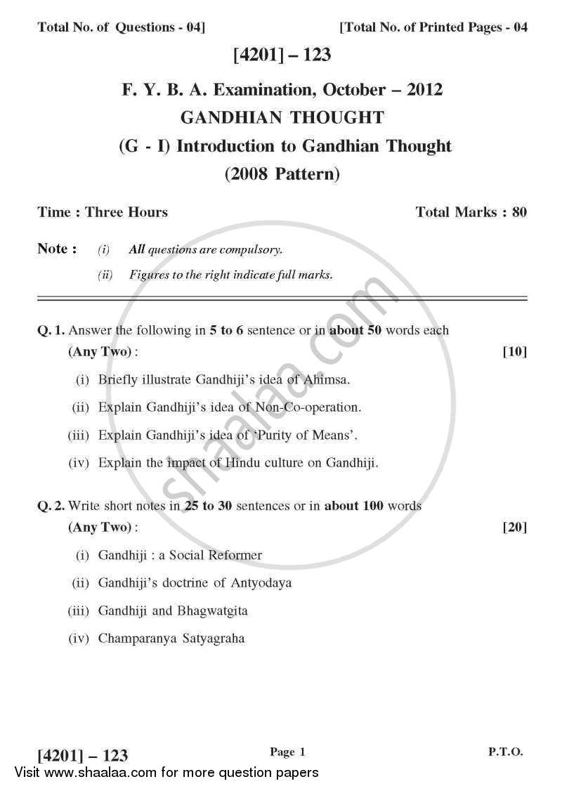 Question Paper - Gandhian Thought General Paper 1- Introduction to Gandhian Thought 2012 - 2013 - B.A. - 1st Year (FYBA) - University of Pune