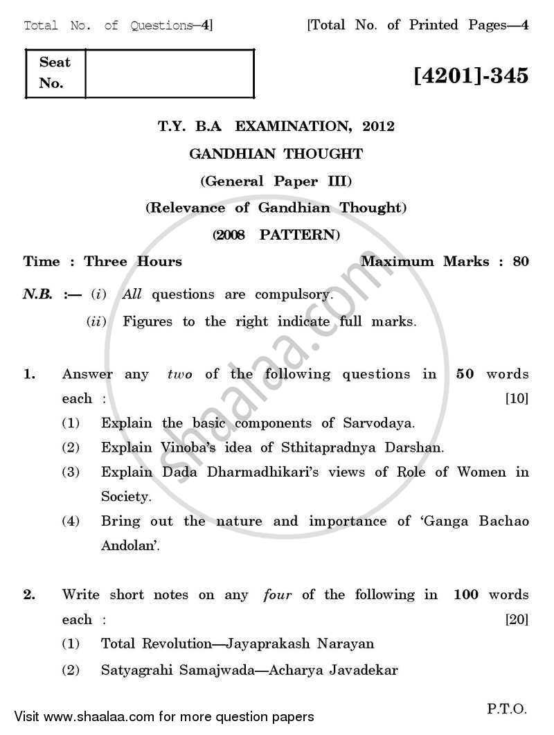 Question Paper - Gandhian Thought General Paper 3- Relevance of Gandhian Thought 2012 - 2013 - B.A. - 3rd Year (TYBA) - University of Pune