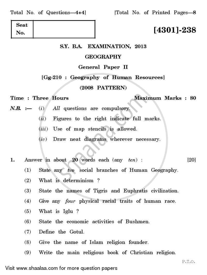 Question Paper - Geography General Paper 2- Geography of Human Resources 2012 - 2013-B.A.-2nd Year (SYBA) University of Pune