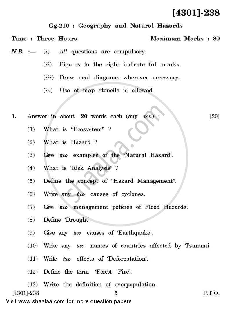 Question Paper - Geography General Paper 2- Geography and Natural Hazards 2012 - 2013 - B.A. - 2nd Year (SYBA) - University of Pune