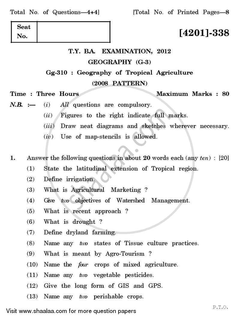 Geography General Paper 3- Geography of Tropical Agriculture 2012-2013 - B.A. - 3rd Year (TYBA) - University of Pune question paper with PDF download