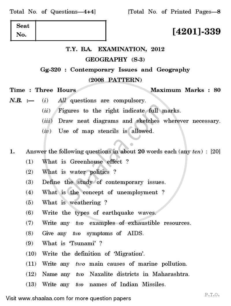 Geography Special Paper 3- Contemporary Issues and Geography 2012-2013 - B.A. - 3rd Year (TYBA) - University of Pune question paper with PDF download