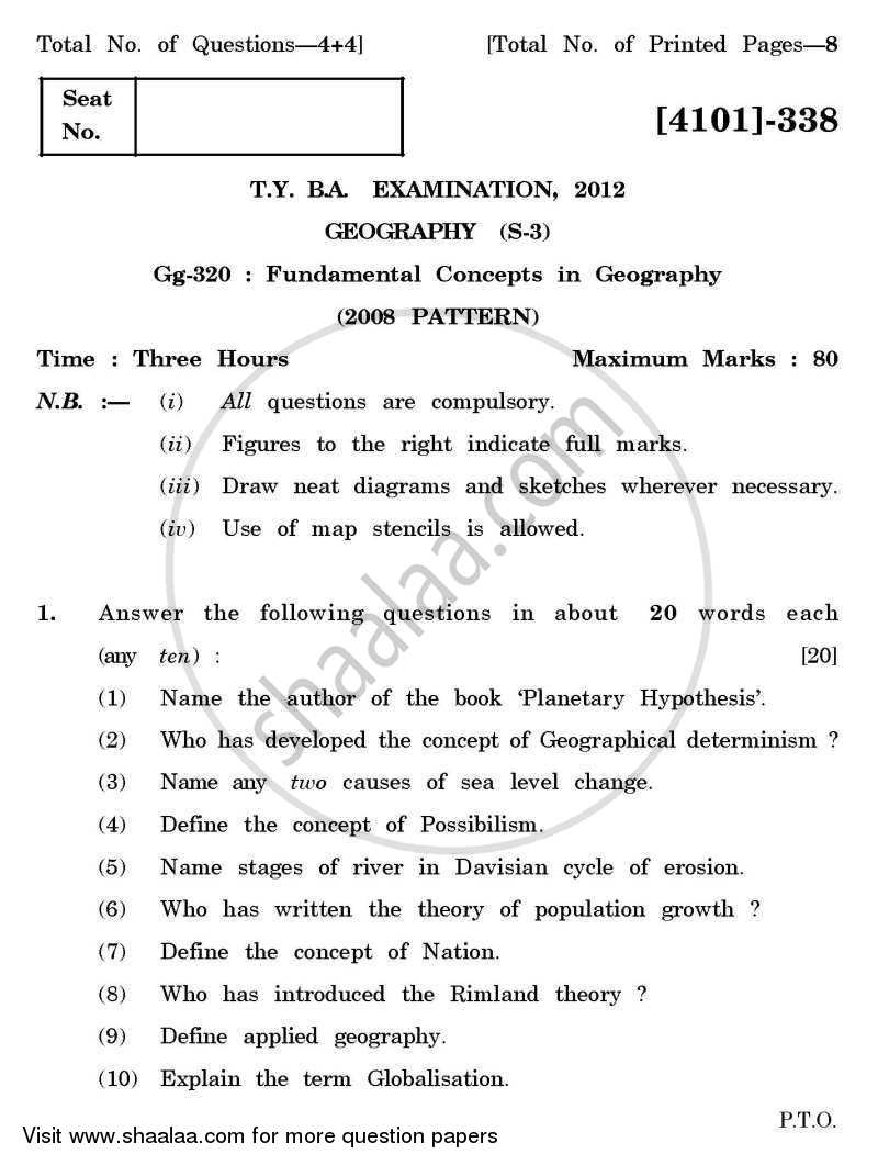 Question Paper - Geography Special Paper 3- Fundamental Concepts in Geography 2011-2012 - B.A. - 3rd Year (TYBA) - University of Pune with PDF download