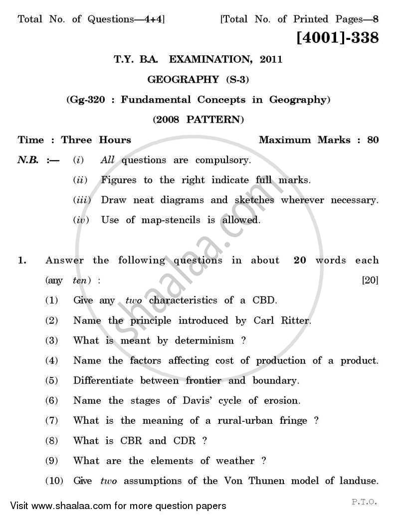 Geography Special Paper 3- Fundamental Concepts in Geography 2011-2012 - B.A. - 3rd Year (TYBA) - University of Pune question paper with PDF download
