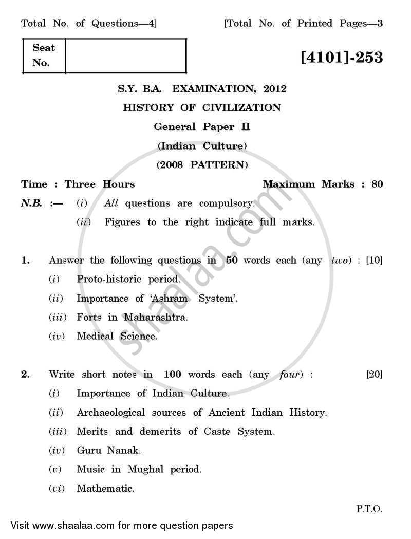 Question Paper - History of Civilization General Paper 2- Indian Culture 2011 - 2012 - B.A. - 2nd Year (SYBA) - University of Pune