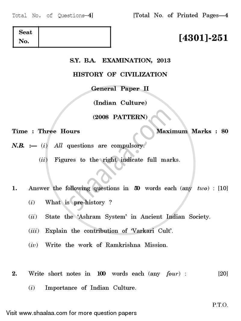 History of Civilization General Paper 2- Indian Culture 2012-2013 - B.A. - 2nd Year (SYBA) - University of Pune question paper with PDF download