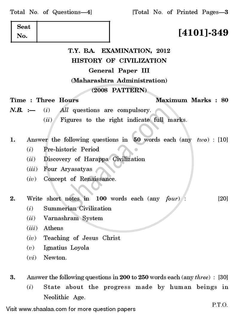 Question Paper - History of Civilization General Paper 3- Maharashtra Administration 2011 - 2012 - B.A. - 3rd Year (TYBA) - University of Pune