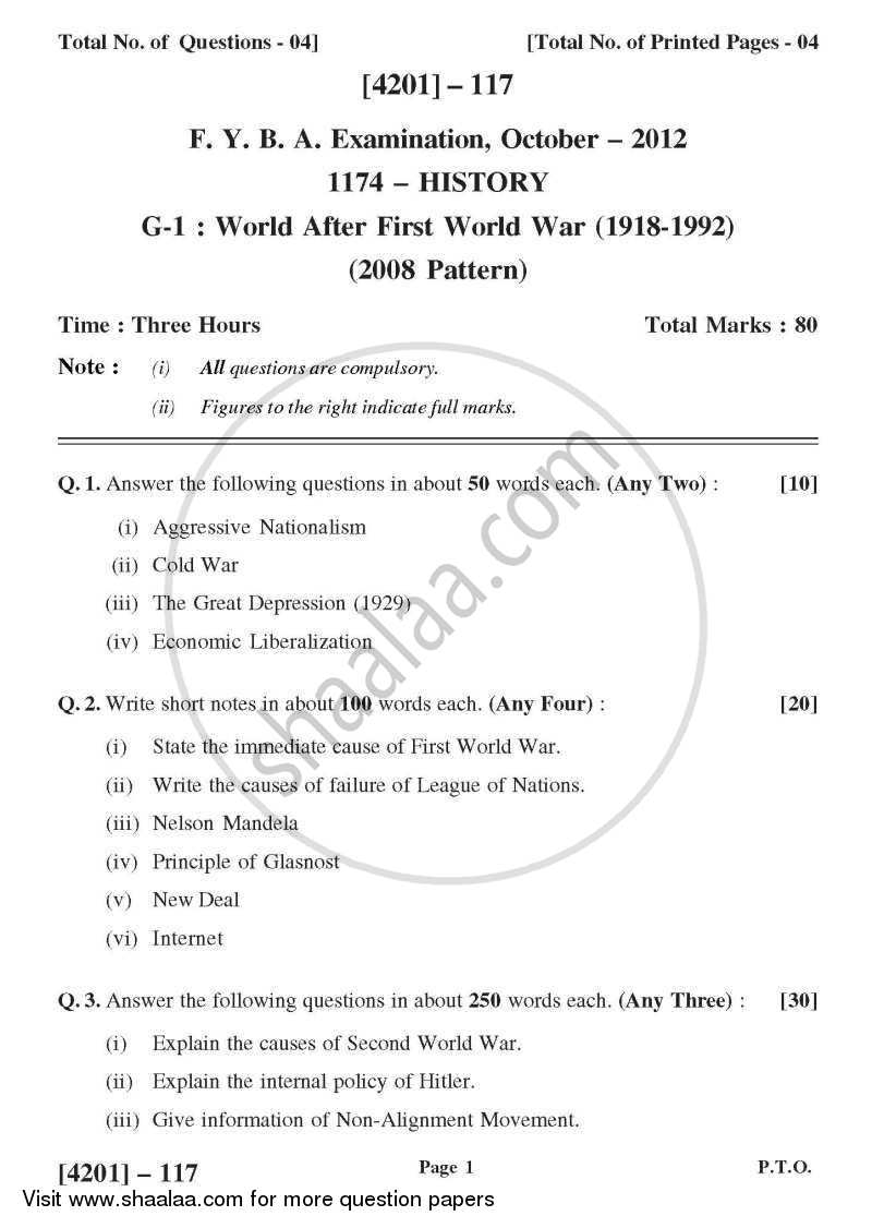 Question Paper - History General Paper 1- World After World War - 1 (1918-1992) 2012-2013 - B.A. - 1st Year (FYBA) - University of Pune with PDF download