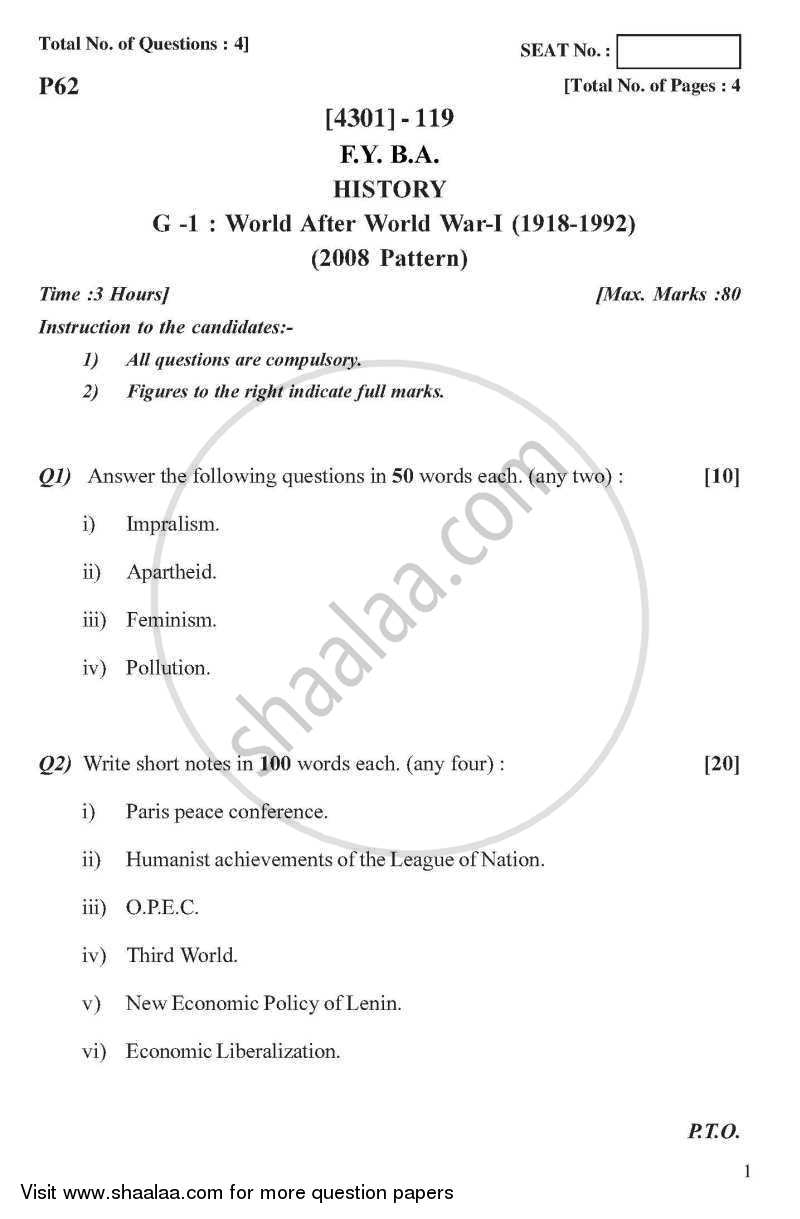 Question Paper - History General Paper 1- World After World War - 1 (1918-1992) 2012 - 2013 - B.A. - 1st Year (FYBA) - University of Pune