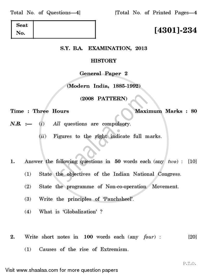 Question Paper - History General Paper 2- Modern India ( 1885 – 1992 ) 2012 - 2013 - B.A. - 2nd Year (SYBA) - University of Pune