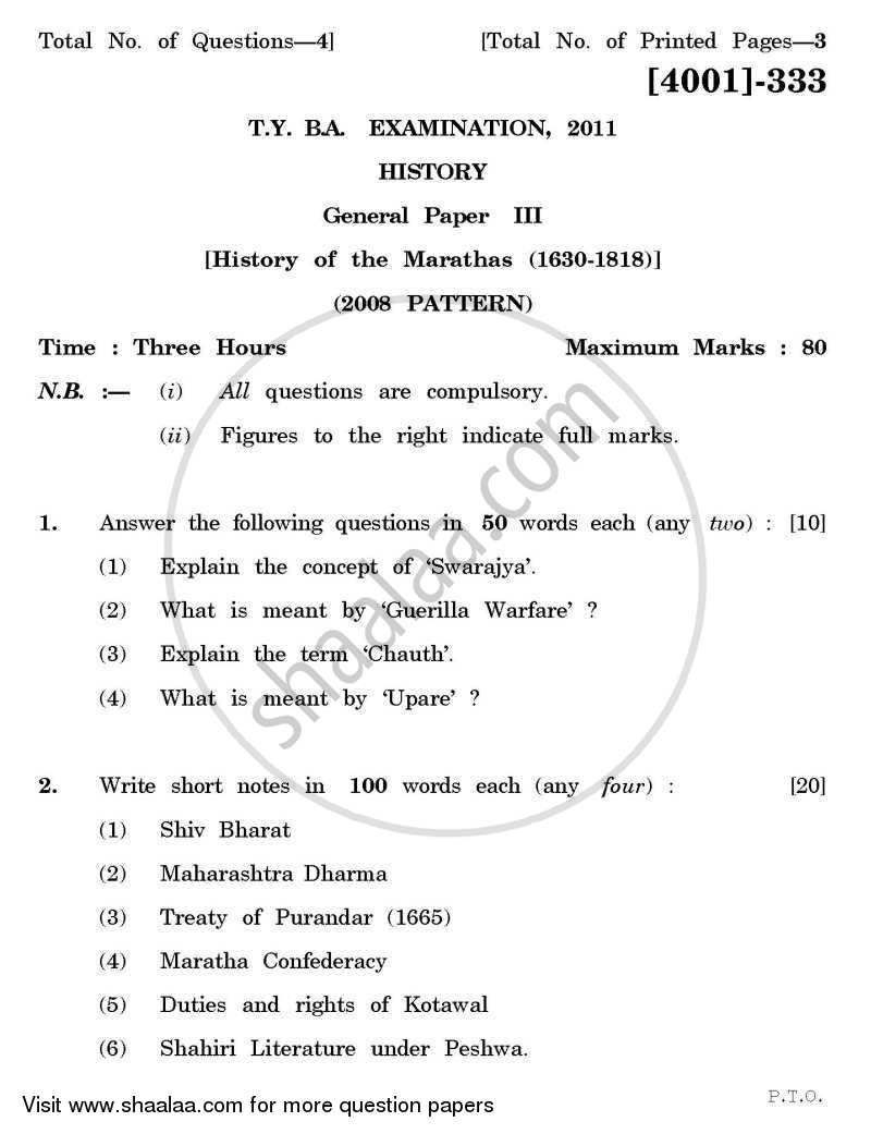 Question Paper - History General Paper 3- History of the Marathas (1630-1818) 2011 - 2012 - B.A. - 3rd Year (TYBA) - University of Pune