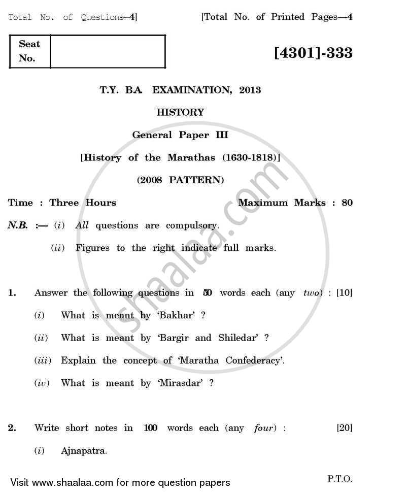 History General Paper 3- History of the Marathas (1630-1818) 2012-2013 - B.A. - 3rd Year (TYBA) - University of Pune question paper with PDF download