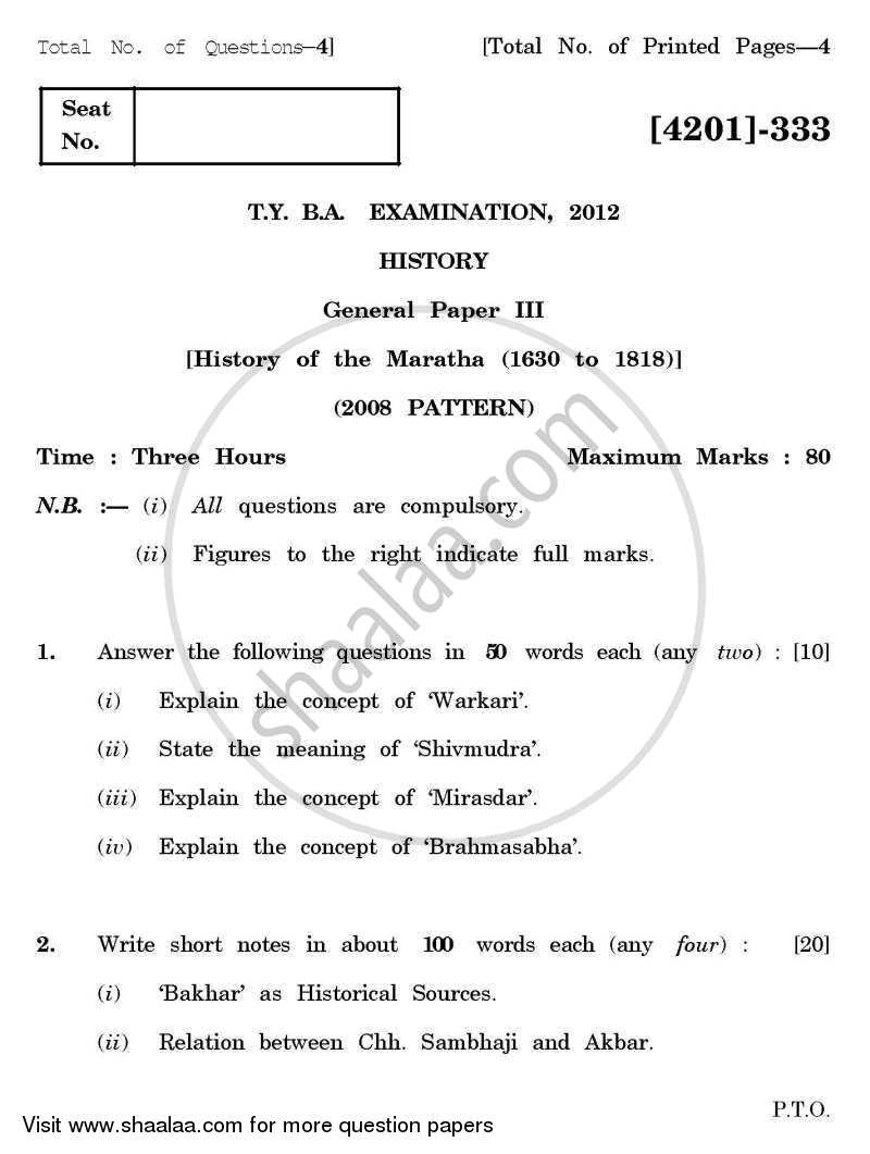 Question Paper - History General Paper 3- History of the Marathas (1630-1818) 2012 - 2013-B.A.-3rd Year (TYBA) University of Pune