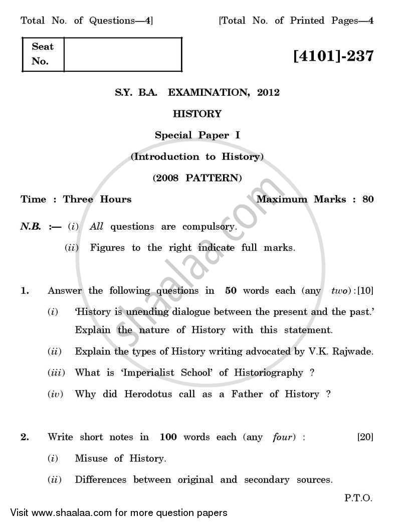 Question Paper - History Special Paper 1- Introduction to History 2011 - 2012 - B.A. - 2nd Year (SYBA) - University of Pune