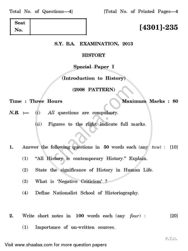 Question Paper - History Special Paper 1- Introduction to History 2012 - 2013 - B.A. - 2nd Year (SYBA) - University of Pune