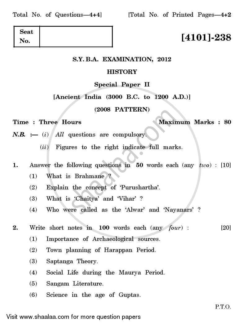 Question Paper - History Special Paper 2- Ancient India (3000 BC to 1200 AD) 2011 - 2012 - B.A. - 2nd Year (SYBA) - University of Pune