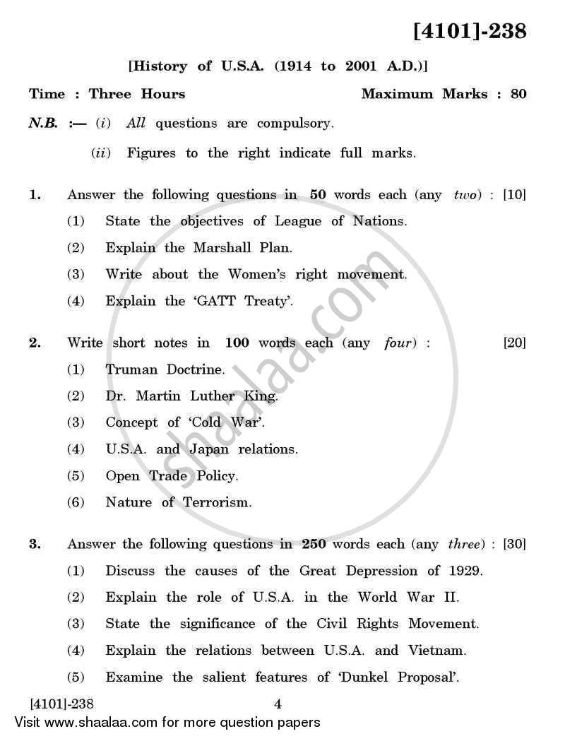 Question Paper - History Special Paper 2- History of U.S.A. ( 1914 to 2001 A.D.) 2011 - 2012 - B.A. - 2nd Year (SYBA) - University of Pune