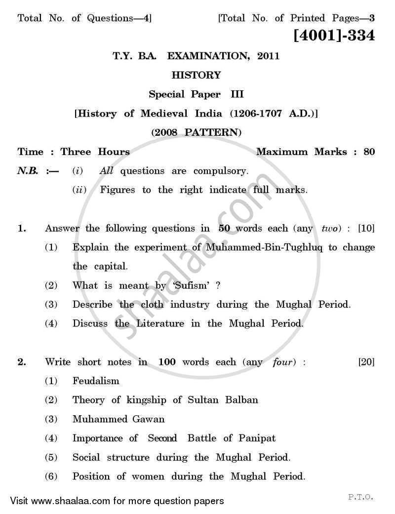 Question Paper - History Special Paper 3- History of Medieval India (1206-1707 A.D.) 2011 - 2012 - B.A. - 3rd Year (TYBA) - University of Pune