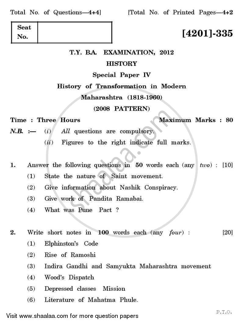 Question Paper - History Special Paper 4- History of Transformation in Modern Maharashtra (1818-1960) 2012 - 2013 - B.A. - 3rd Year (TYBA) - University of Pune