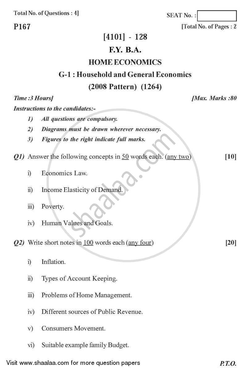 Question Paper - Home Economics General Paper 1- Household and General Economics 2011 - 2012 - B.A. - 1st Year (FYBA) - University of Pune