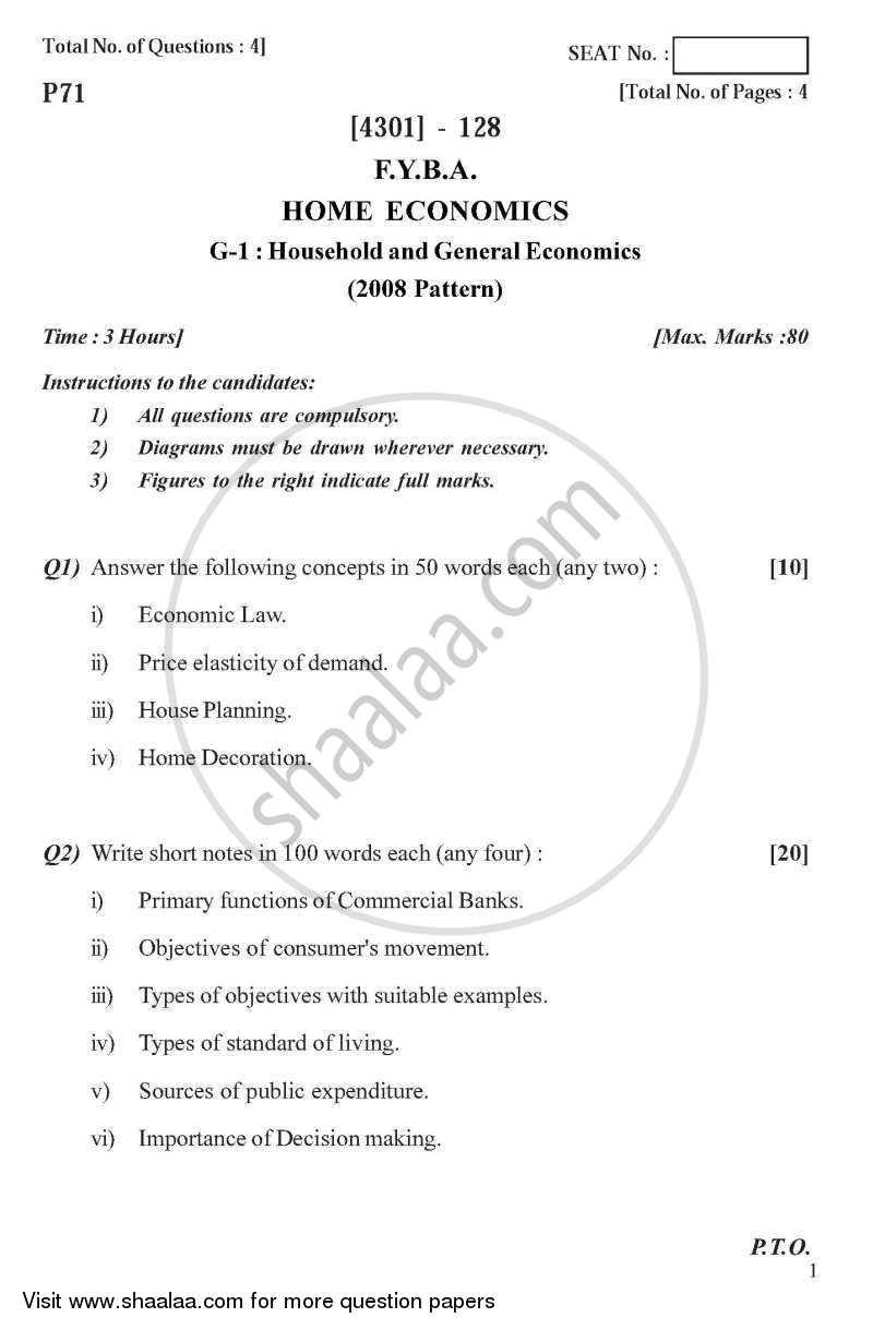 Question Paper - Home Economics General Paper 1- Household and General Economics 2012 - 2013-B.A.-1st Year (FYBA) University of Pune
