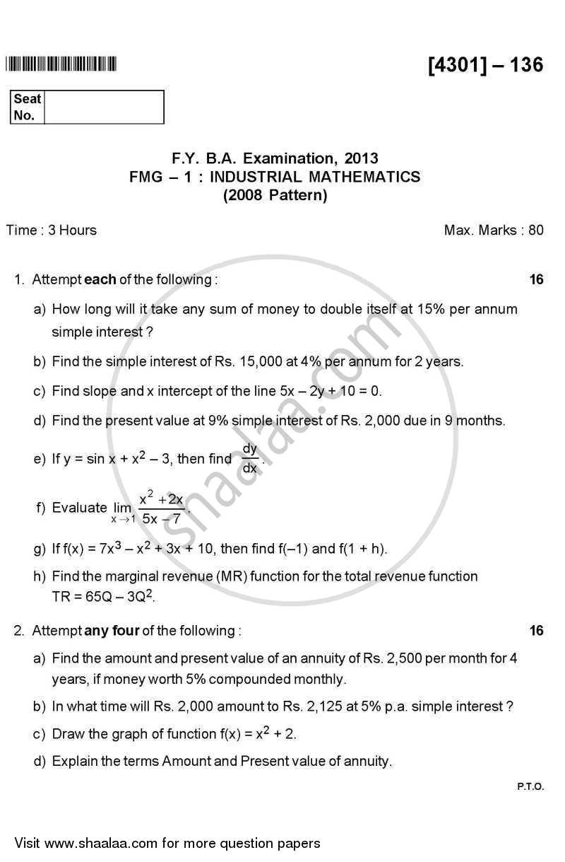 Question Paper - Industrial Mathematics 2012 - 2013 - B.A. - 1st Year (FYBA) - University of Pune