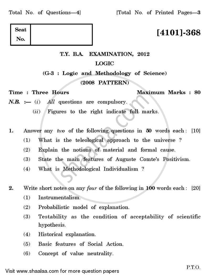 Question Paper - Logic General Paper 3- Logic and Methodology of Science 2011 - 2012 - B.A. - 3rd Year (TYBA) - University of Pune