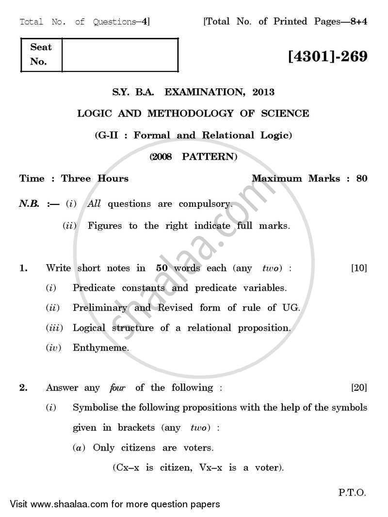 Question Paper - Logic and Methodology of Science General Paper 2- Formal and Relational Logic 2012 - 2013 - B.A. - 2nd Year (SYBA) - University of Pune