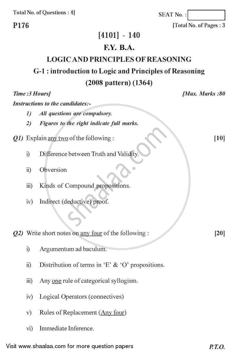 Logic and Principles of Reasoning General Paper 1- Introduction to Logic and Principles of Reasoning 2011-2012 - B.A. - 1st Year (FYBA) - University of Pune question paper with PDF download